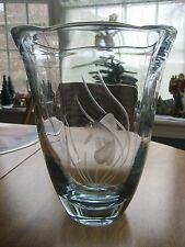 Beautiful Stromberg Crystal, Sweden  Large Swedish Blue Art Glass Flower Vase