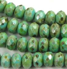 25 Czech Glass Gemstone Cut  Faceted Rondelle 7x5mm: Turqouise Picasso