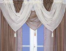 Tassled Voile Curtain Swags All Colours- Pelmet Valance Net Curtains Voile Swag