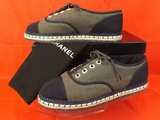 NIB CHANEL GREEN BLACK CANVAS PEARLS CC  ESPADRILLE TENNIS FLAT SNEAKERS 41