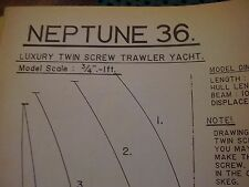 VINTAGE MODEL BOAT PLAN NEPTUNE 36 LUXURY TWIN SCREW TRAWLER YACHT ORIGINAL