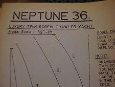 VINTAGE MODEL BOAT PLAN NEPTUNE 36 LUXURY TWIN SCREW TRAWLER YACHT ORIGINAL