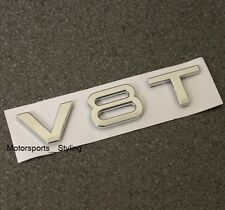 V8t CROMO Badge Emblema Decalcomania Sticker LOGO AUDI v8 ala laterale PARAFANGO POSTERIORE BOOT *