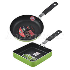 2Pc Mini Non Stick Frying Sauce Pan Cookware 4.7 Inch Aluminum Body Square Round