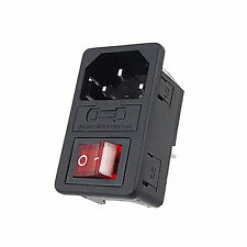 IEC 320 C14 Red Light Rocker Switch Fuse Inlet Male Power Supply Connector Plug