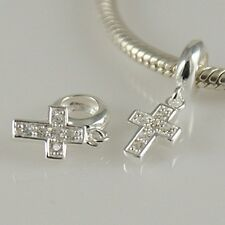 CROSS-Crucifix-Christian- Solid 925 sterling silver European charm bead/ Pendant