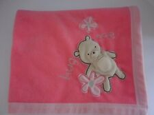 Carter's Classic All About A Bear Coral Peach Hug Me Baby  Blanket  Squeaks