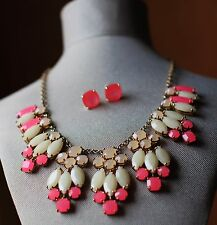 KATE SPADE MARQUEE BIB STATEMENT NECKLACE EARRINGS SET PINK WHITE GOLD BRIDAL