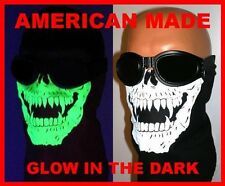 BLACK GLOW IN THE DARK SKULL FACE MASK NECK DUST WIND COVER BIKER COTTON BANDANA