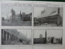 1914 YPRES CLOTH HALL DESTRUCTION HOTEL DE VILLE WWI WW1 DOUBLE PAGE
