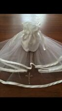 2 Tier White Diamante Holy Communion Veil & Matching Dolly Bag/FREE POSTAGE.