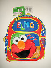 "Sesame Street Fuzzy Elmo 12"" Small Toddler Backpack - School Book Bag Boys"
