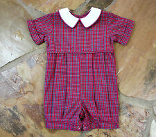 NEW Remember Nguyen Christmas Plaid 6 mths Boys Tartan Romper Months Mo.