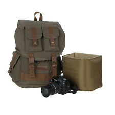Men's Vintage Canvas DSLR SLR Camera Padding Case Travel Backpack For Canon Sony