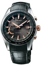 NEW  SEIKO ASTRON GPS SOLAR WORLD TIME SSE095 BROWN CROCODILE STRAP GREY DIAL
