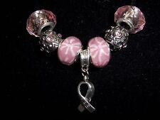 "PINK Handmade Tibetan Silver CANCER AWARENESS ""Hope"" Charm Crystal Necklace N-23"