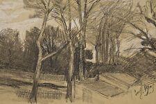 Jules PONCEAU 1881-1961 Dessin 1905 Petit bois et bâtiments Issy les Moulineaux