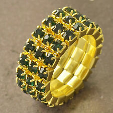 Much Row Green Cubic Zirconia 9K Yellow Gold Filled Womens Ring Size 7,F5054