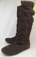 Simple 9825 Wo's US 10 EU 41 Brown Suede Pull On Casual Tall Fashion Boots low