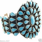 TAXCO MEXICAN STERLING SILVER LARIMAR BEADED BEAD CUFF BRACELET MEXICO