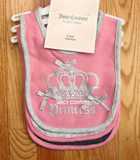 Juicy Couture Baby Girl 3 Piece Bib Set ~ One Size ~ Juicy Couture Princess ~