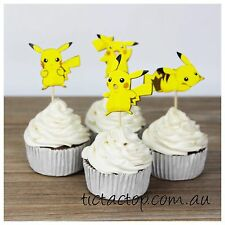 12 x Pokemon PIKACHU Go Cupcake Food TOPPER Pick. Party Supplies Food Decoration