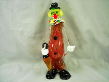 MURANO CLOWN WOMAN WITH UMBRELLA 11 INCHES TALL - ITALY, LOTS OF GOLD FLECKS