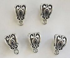 10 Metal Antique Silver Dangle Bails - 14mm - For Charms - For Charm Bracelet