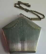 ANTIQUE VINTAGE SILVER PLATE ENGRAVED MIRROR COMPACT