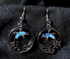 "Sterling 925 Silver SF Dangle Hook Earrings Blue Fire Opal Dolphin 1 1/2"" Drop"