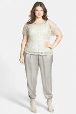 Eileen Fisher Silk Charmeuse Drawstring Ankle Pants Stone Plus 3X $268