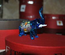 NEW FITZ & FLOYD GLASS MENAGERIE EMMA Figurine Ltd Gift BOX BLUE Lucky ELEPHANT