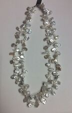 """REAL STERLING SILVER Freshwater Pearl 2 Strand Baroque Style 18"""" NECKLACE 38g"""