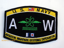 US NAVY AVIATION WARFARE SYSTEMS OPERATOR RATING BADGE AW HAT PATCH USS PIN UP