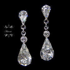 Swarovski Crystal Tear Drop Earrings Wedding Bridal Platinum Plated Silver Clear