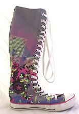 Women's Super High Top Knee High Converse All Stars Sneakers Gray Print Size 7