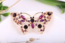 Lady Purple Crystal Butterfly Gold Plated Alloy Charms Brooch Pins Jewelry