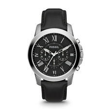 Fossil FS4812 Grant Chronograph Black Leather Watch FREE SHIPPING