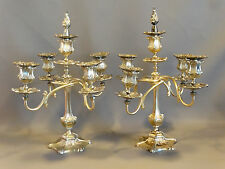 (2) 19thC Antique VICTORIAN Quad Plate WILCOX SILVER CANDELABRA Old CANDLESTICK