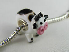 MURANO SINGLE SILVER CORE ANIMAL BEAD FOR EUROPEAN STYLE CHARM BRACELETS  COW  2