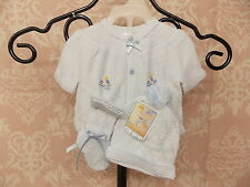 Will'beth Newborn Boys Blue Knit Take Me Home Set w/Booties, Bloomers, and Hat