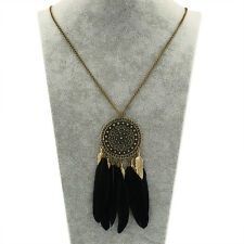 Women's Retro Dream Catcher BLACK Feather Pendant Long Chain Necklace Jewelry
