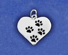 Sterling Silver Pl Charm 4 Paws Heart Pendant Cat Dog Lover Paw Print PET RESCUE