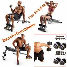Home Gym Fitness Abdominal Six Pack Slant Bench Dumbbells 40 Lb Weights Abs Set