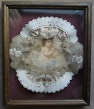 antique celluloid valentines day card with Cupid cherub from the 1800's framed