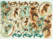 Rice Paper for Decoupage Decopatch Scrapbook Craft Sheet Vintage Lady in Autumn