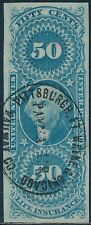#R58a IMPERF 50¢ LIFE INSURANCE VF+ WITH HAND CANCEL BS4209
