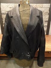 Vera Pelle Italy Leather Jacket Vintage Black Textured Women's Size 40/Large EUC