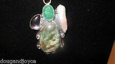 925 marked Sterling Silver Pendant and Chain-Agate,Pearl,Green & Purple Stones