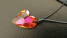 Big Swarovski® Love Heart Pendant Necklace Orange Pink Waxed Cord